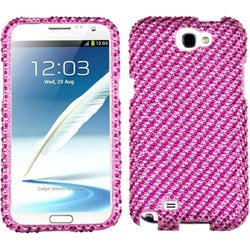 INSTEN Stripe Pink/ Pink Diamante Phone Case Cover for Samsung Galaxy Note II