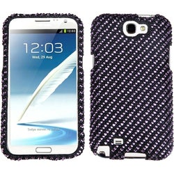 INSTEN Stripe Purple/ Black Diamante Phone Case Cover for Samsung Galaxy Note II