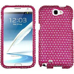 INSTEN Hot Pink/ White Dots Diamante Phone Case Cover for Samsung Galaxy Note II