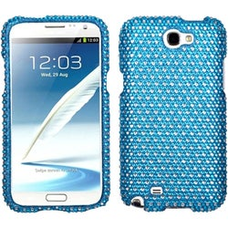 INSTEN Blue/ White Dots Diamante Phone Case Cover for Samsung Galaxy Note II