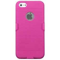 INSTEN Hot Pink Rubberized Hybrid Holster for Apple iPhone 5/ 5S/ SE