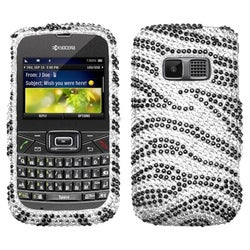 INSTEN Black Zebra Skin Diamante Phone Case Cover for KYOCERA S3015 Brio