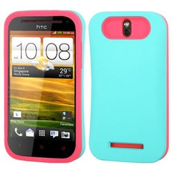 INSTEN Teal Green/ Hot Pink Wallet Phone Case Cover for HTC One SV