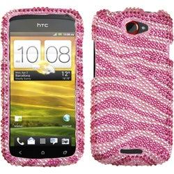 INSTEN Pink/ Hot Pink Zebra Skin Diamante Phone Case Cover for HTC One S