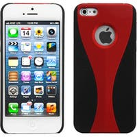 INSTEN Red/ Black Wave Rubberized Protector Phone Case for Apple iPhone 5/ 5S/ 5C/ SE