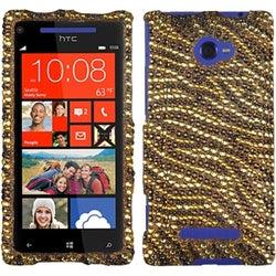 INSTEN Tiger Skin Camel/ Brown Diamante Phone Case Cover for HTC Windows 8X