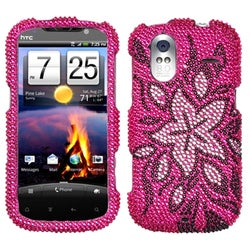 INSTEN Tasteful Flowers Diamante Phone Case Cover for HTC Amaze 4G