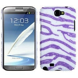 INSTEN White/ Purple Diamante Back Phone Case Cover for Samsung Galaxy Note 2
