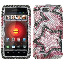INSTEN Twin Stars Diamante Phone Case Cover for Motorola XT894 Droid 4