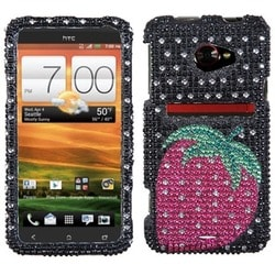 INSTEN Hot Pink Strawberry Dots Diamante Phone Case Cover for HTC Evo 4G LTE