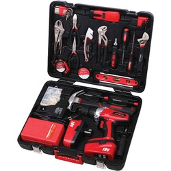 Apollo 184 Piece Household Tool Kit with 18 Volt Drill