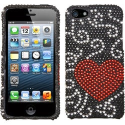 INSTEN Curve Heart Diamante Protector Phone Case Cover for Apple iPhone 5/ 5S/ SE