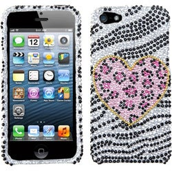 INSTEN Playful Leopard Diamante Protector Phone Case Cover for Apple iPhone 5/ 5S/ SE
