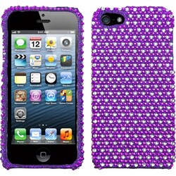 INSTEN Purple/ White Dots Diamante Protector Phone Case Cover for Apple iPhone 5/ 5S/ SE