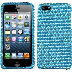INSTEN Blue/ White Dots Diamante Protector Phone Case Cover for Apple iPhone 5/ 5S/ SE