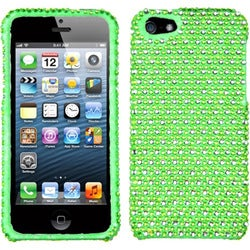 INSTEN Green/ White Dots Diamante Protector Phone Case Cover for Apple iPhone 5/ 5S/ SE