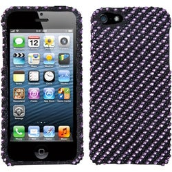 INSTEN Stripe Purple/ Black Diamante Phone Case Cover for Apple iPhone 5 / 5S / SE