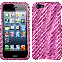 INSTEN Stripe White/ Hot Pink Diamante Phone Case Cover for Apple iPhone 5 / 5S / SE
