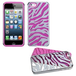 INSTEN Silver Zebra Skin/ Hot Pink Fusion Phone Case for Apple iPhone 5/ 5S/ SE
