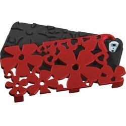 INSTEN Titanium Red/ Black Flowerpower Hybrid Phone Case for Apple iPhone 5/ 5S/ SE