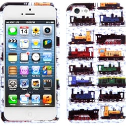 INSTEN White Retro Trains Phone Case for Apple iPhone 5/ 5S/ SE