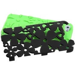 INSTEN Black/ Electric Green/ Flowerpower Phone Case for Apple iPhone 5/ 5S/ SE