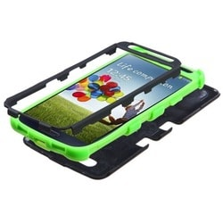 INSTEN Black/ Electric Green TUFF Hybrid Phone Case Cover for Samsung Galaxy S4