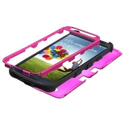 INSTEN Solid Hot Pink/ Black TUFF Hybrid Phone Case Cover for Samsung Galaxy S4