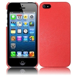 INSTEN Red Leather Phone Case Cover for Apple iPhone 5 / 5S / SE