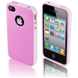 INSTEN Light Pink/ White TPU Rubber Candy Skin Phone Case Cover for Apple iPhone 4/ 4S