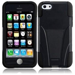 INSTEN Black T-stand Dual Layer Hybrid PC/ Soft Silicone Phone Case Cover with Stand for Apple iPhone 5C/ 5S