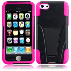 INSTEN Black/ Hot Pink T-stand Dual Layer Hybrid PC/ Soft Silicone Phone Case Cover with Stand for Apple iPhone 5C/ 5S