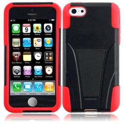 INSTEN Black/ Red T-stand Dual Layer Hybrid PC/ Soft Silicone Phone Case Cover with Stand for Apple iPhone 5C/ 5S