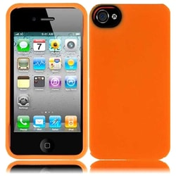 INSTEN Orange TPU Rubber Candy Skin Phone Case Cover for Apple iPhone 4/ 4S