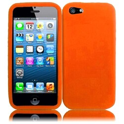 INSTEN Orange Rubber Soft Silicone Soft Skin Gel Phone Case Cover for Apple iPhone 5 / 5S / SE