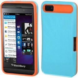 INSTEN Baby Blue/ Orange Card Wallet Back Phone Case Cover for Blackberry Z10
