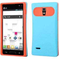 INSTEN Baby Blue/ Orange Wallet Phone Case Cover for LG P769 Optimus L9