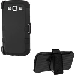 INSTEN Black/ Black Holster TUFF Hybrid Phone Case Cover for Samsung Galaxy S3