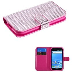 INSTEN Pink Diamonds Wallet Phone Case Cover for Samsung T989 Galaxy S2