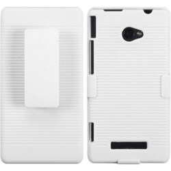 INSTEN Rubberized Solid Ivory White Hybrid Holster for HTC Windows 8X