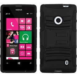 INSTEN Black/ Black Phone Case Cover with Stand for Nokia Lumia 521