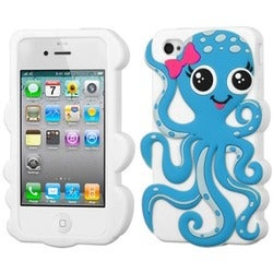 INSTEN Baby Blue/ White Octopus Phone Case Cover for Apple iPhone 4/ 4S