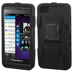 INSTEN Black/ Black Advanced Armor Stand Phone Case Cover for Blackberry Z10