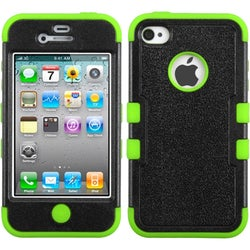 INSTEN Black/ Electric Green TUFF Hybrid Phone Case Cover for Apple iPhone 4/ 4S