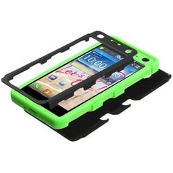 INSTEN Black/ Electric Green TUFF Hybrid Phone Case Cover for LG MS870 Spirit 4G