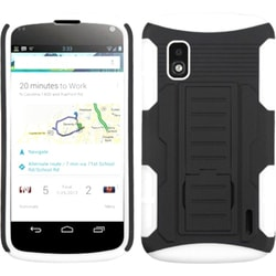 INSTEN Black/ White Car Armor Stand Phone Case Cover for LG E960 Nexus 4
