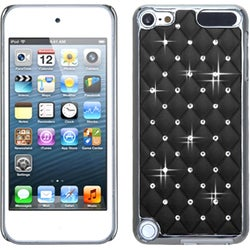 Insten Black/ Silver Lattice Hard Snap-on Chrome Rubberized Matte Case Cover with Diamond For Apple iPod Touch 5th/ 6th Gen