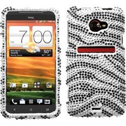 INSTEN Black/ Zebra Skin/ Diamante Phone Case Cover for HTC EVO 4G LTE