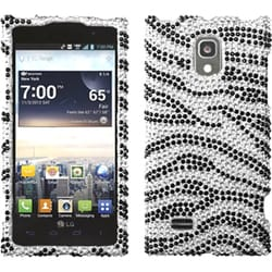 INSTEN Black Zebra Skin Diamante Phone Case Cover for LG VS930 Spectrum 2