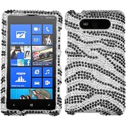INSTEN Black/ Zebra Skin/ Diamante Phone Case Cover for Nokia 820 Lumia 820